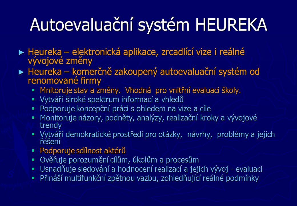 Autoevaluační systém HEUREKA ► Heureka – elektronická aplikace, zrcadlící vize i reálné vývojové změny ► Heureka – komerčně zakoupený autoevaluační sy