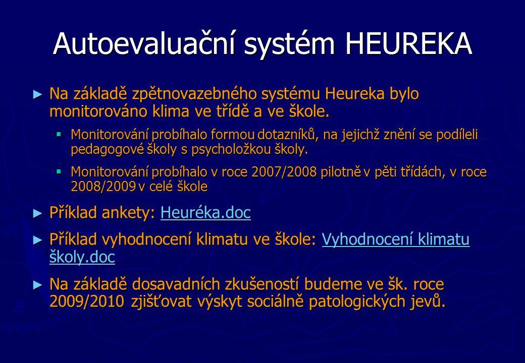 Autoevaluační systém HEUREKA ► Na základě zpětnovazebného systému Heureka bylo monitorováno klima ve třídě a ve škole.  Monitorování probíhalo formou