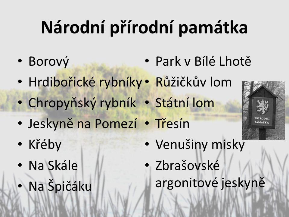 Národní přírodní památka Borový Hrdibořické rybníky Chropyňský rybník Jeskyně na Pomezí Křéby Na Skále Na Špičáku Park v Bílé Lhotě Růžičkův lom Státn