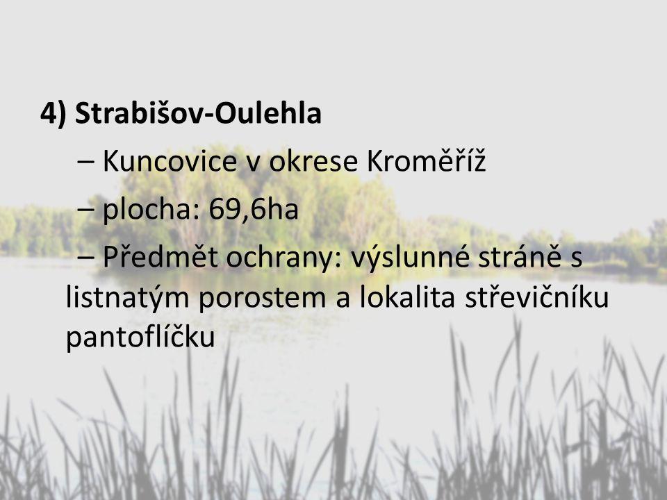 4) Strabišov-Oulehla – Kuncovice v okrese Kroměříž – plocha: 69,6ha – Předmět ochrany: výslunné stráně s listnatým porostem a lokalita střevičníku pan