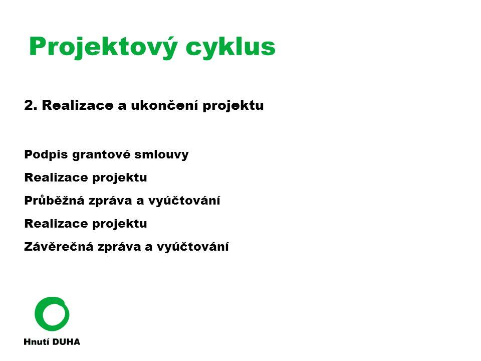 Projektový cyklus 2. Realizace a ukončení projektu Podpis grantové smlouvy Realizace projektu Průběžná zpráva a vyúčtování Realizace projektu Závěrečn
