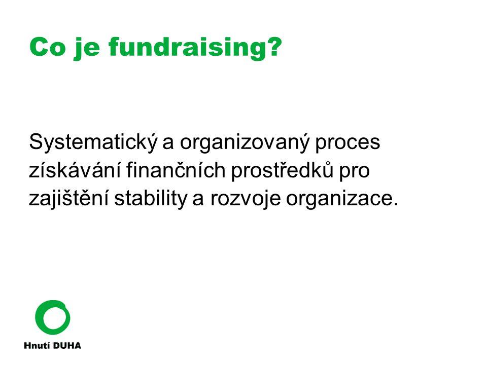 Co je fundraising? Systematický a organizovaný proces získávání finančních prostředků pro zajištění stability a rozvoje organizace.