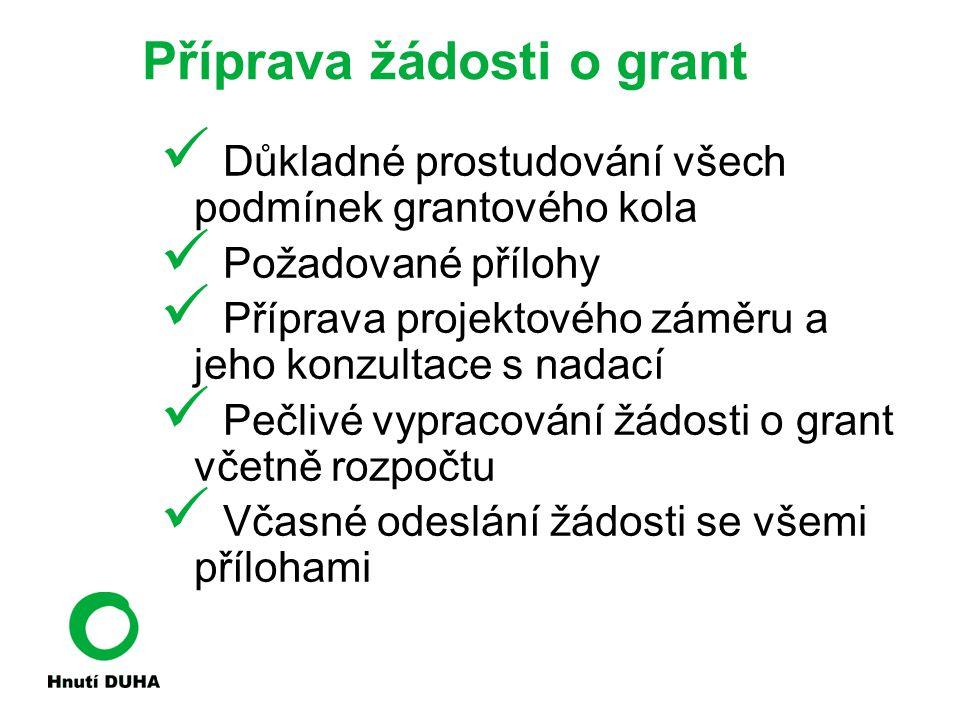 Příprava žádosti o grant Důkladné prostudování všech podmínek grantového kola Požadované přílohy Příprava projektového záměru a jeho konzultace s nada