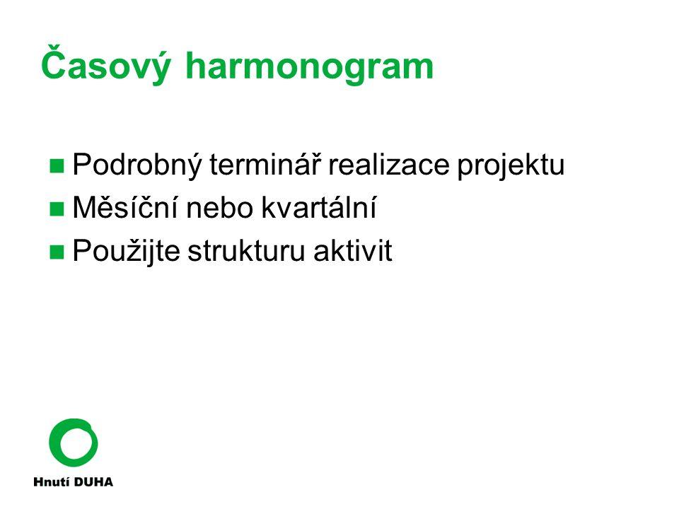 Časový harmonogram Podrobný terminář realizace projektu Měsíční nebo kvartální Použijte strukturu aktivit