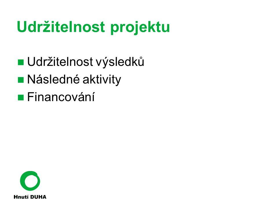 Udržitelnost projektu Udržitelnost výsledků Následné aktivity Financování