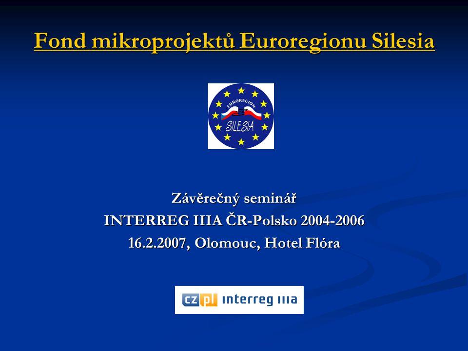 Fond mikroprojektů Euroregionu Silesia Závěrečný seminář INTERREG IIIA ČR-Polsko 2004-2006 16.2.2007, Olomouc, Hotel Flóra