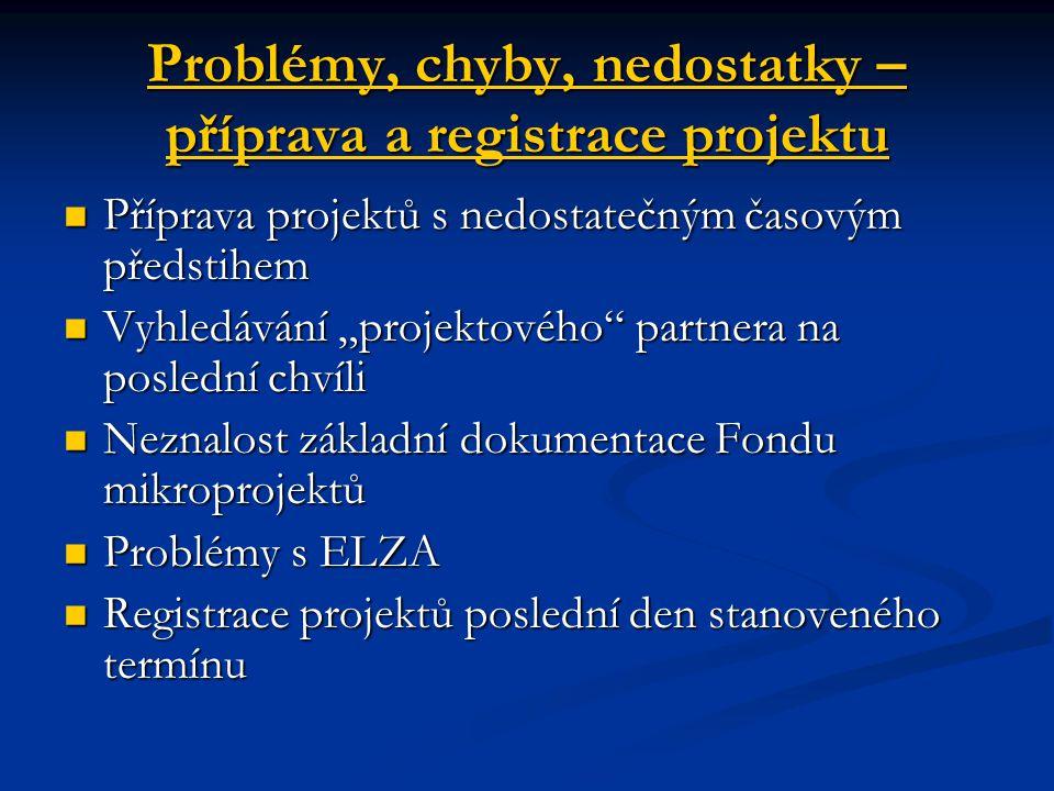 Problémy, chyby, nedostatky – příprava a registrace projektu Příprava projektů s nedostatečným časovým předstihem Příprava projektů s nedostatečným ča
