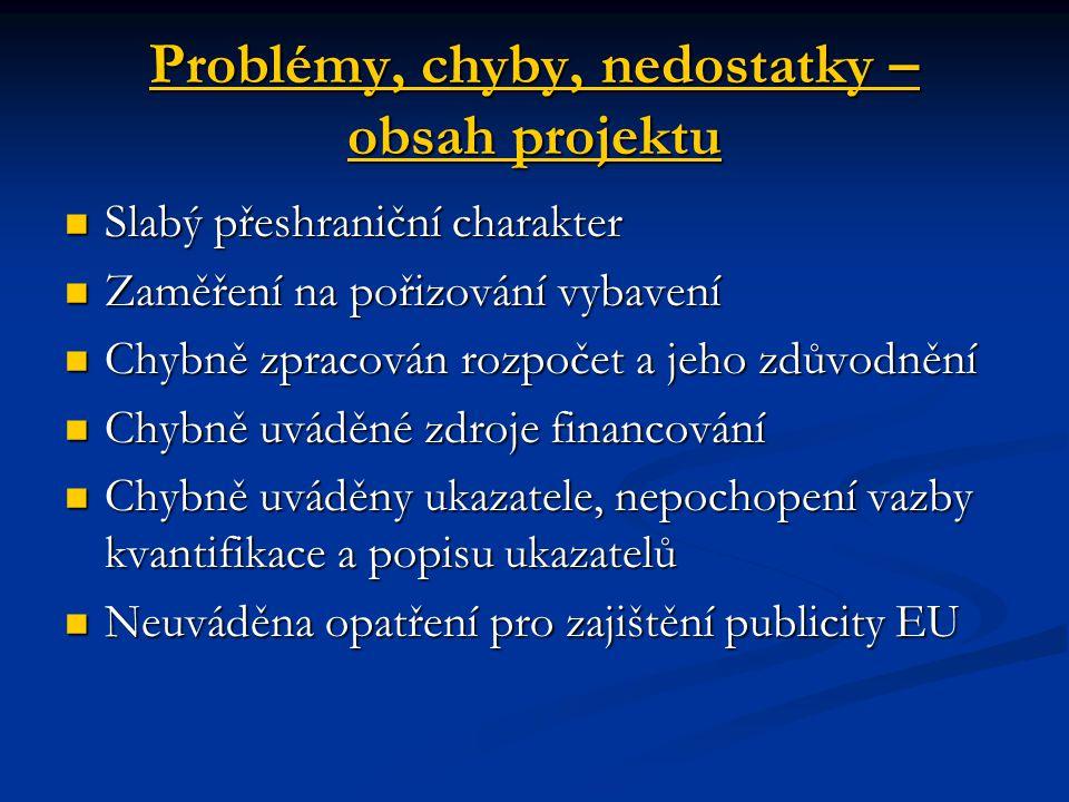 Problémy, chyby, nedostatky – obsah projektu Slabý přeshraniční charakter Slabý přeshraniční charakter Zaměření na pořizování vybavení Zaměření na poř