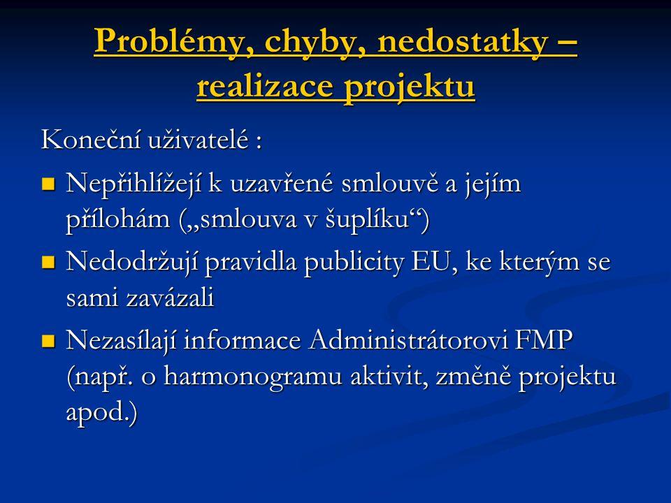Problémy, chyby, nedostatky – ukončení a vyúčtování projektu Chyby v závěrečných zprávách o realizaci projektu – nepochopení obsahu Chyby v závěrečných zprávách o realizaci projektu – nepochopení obsahu Chyby ve vyúčtování projektu : Chyby ve vyúčtování projektu : - chybně vyplněné tabulky vyúčtování - chybně vyplněné tabulky vyúčtování - chybné účetní doklady - chybné účetní doklady - nedoložené doprovodné poklady - nedoložené doprovodné poklady Problémy s žádostí o platbu ELZA Problémy s žádostí o platbu ELZA