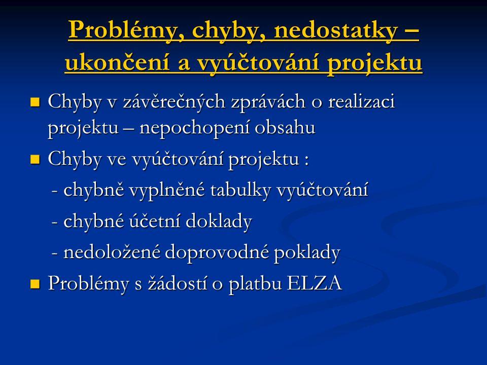 Problémy, chyby, nedostatky – ukončení a vyúčtování projektu Chyby v závěrečných zprávách o realizaci projektu – nepochopení obsahu Chyby v závěrečnýc