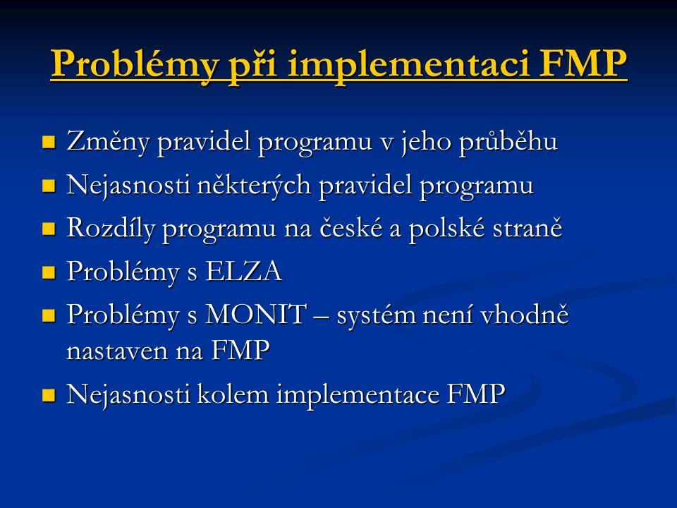 Problémy při implementaci FMP Změny pravidel programu v jeho průběhu Změny pravidel programu v jeho průběhu Nejasnosti některých pravidel programu Nej