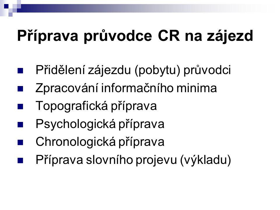 Příprava průvodce CR na zájezd Přidělení zájezdu (pobytu) průvodci Zpracování informačního minima Topografická příprava Psychologická příprava Chronol