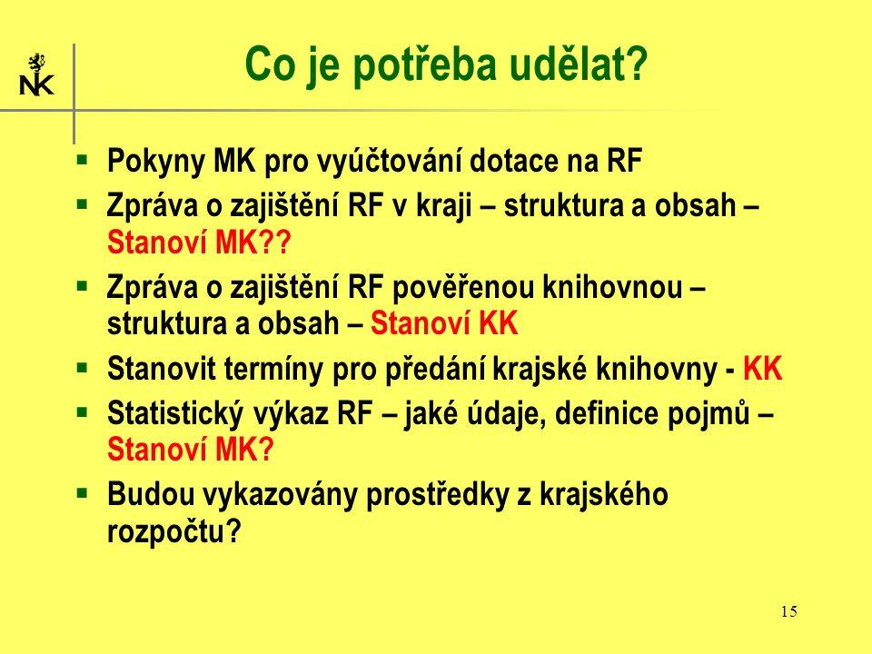 15 Co je potřeba udělat?  Pokyny MK pro vyúčtování dotace na RF  Zpráva o zajištění RF v kraji – struktura a obsah – Stanoví MK??  Zpráva o zajiště