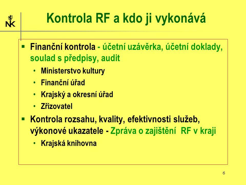 6 Kontrola RF a kdo ji vykonává  Finanční kontrola - účetní uzávěrka, účetní doklady, soulad s předpisy, audit Ministerstvo kultury Finanční úřad Krajský a okresní úřad Zřizovatel  Kontrola rozsahu, kvality, efektivnosti služeb, výkonové ukazatele - Zpráva o zajištění RF v kraji Krajská knihovna