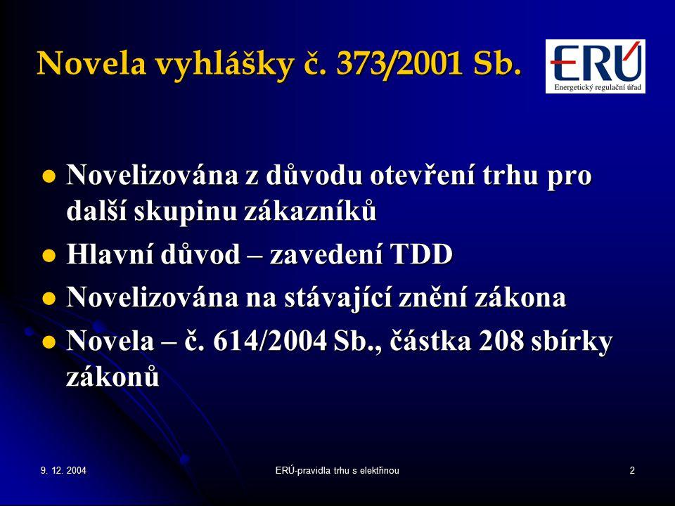 9.12. 2004ERÚ-pravidla trhu s elektřinou2 Novela vyhlášky č.