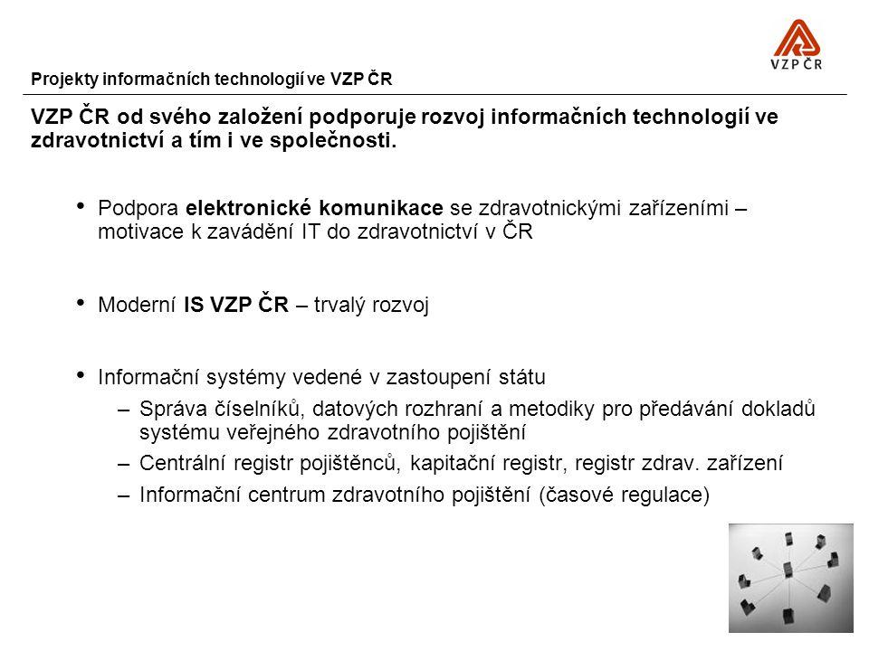 Projekty informačních technologií ve VZP ČR VZP ČR od svého založení podporuje rozvoj informačních technologií ve zdravotnictví a tím i ve společnosti