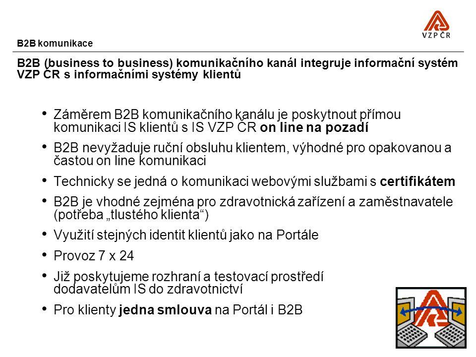 B2B komunikace B2B (business to business) komunikačního kanál integruje informační systém VZP ČR s informačními systémy klientů Záměrem B2B komunikačn