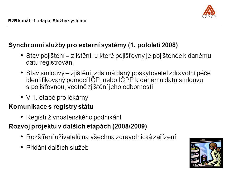 B2B kanál - 1. etapa: Služby systému Synchronní služby pro externí systémy (1. pololetí 2008) Stav pojištění – zjištění, u které pojišťovny je pojiště