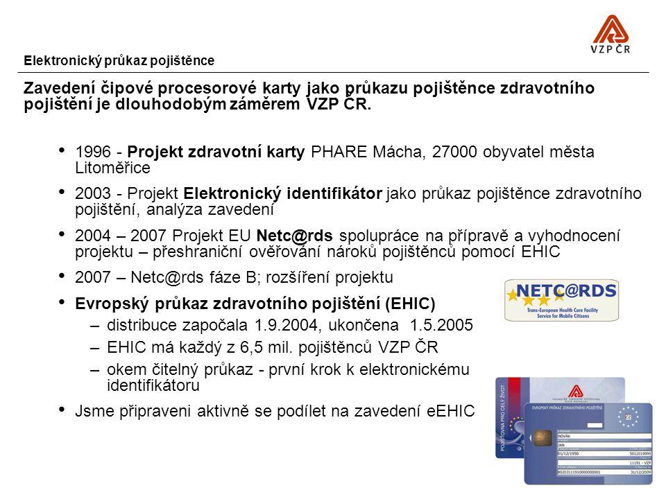 Elektronický průkaz pojištěnce Zavedení čipové procesorové karty jako průkazu pojištěnce zdravotního pojištění je dlouhodobým záměrem VZP ČR. 1996 - P