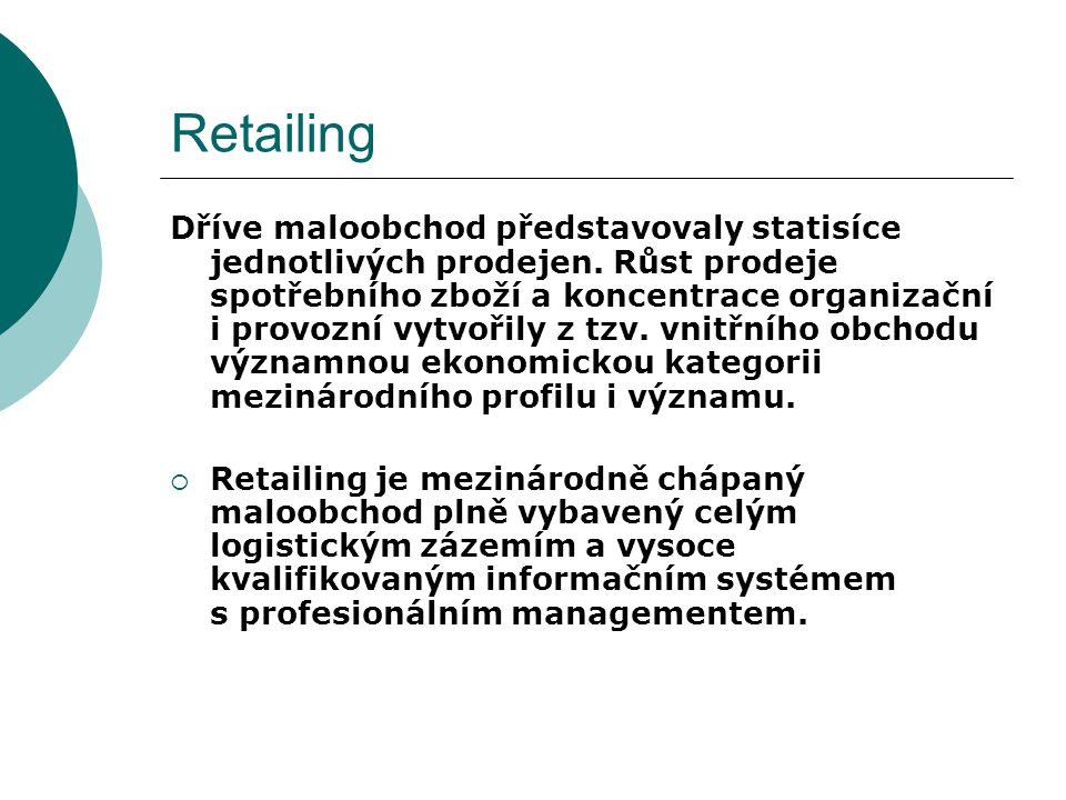Retailing Základem revolučního rozvoje retailingu jsou dva faktory:  neustálý růst příjmu obyvatel po druhé světové válce v Evropě, Severní Americe, Asii a v Latinské Americe,  stále více lidí má dostatek peněz, prodává se více zboží, je nutný stále větší počet prodejních jednotek,  proces nákupu a prodeje je stále více určován odběratelem,  maloobchod stále více stanovuje, co se bude vyrábět a prodávat.