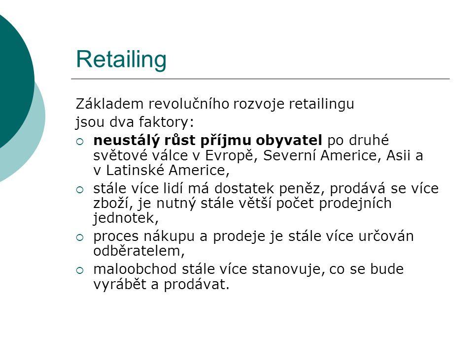 Retailing Vývojové trendy retailingu  tržní dominance  internacionalizace  diverzifikace