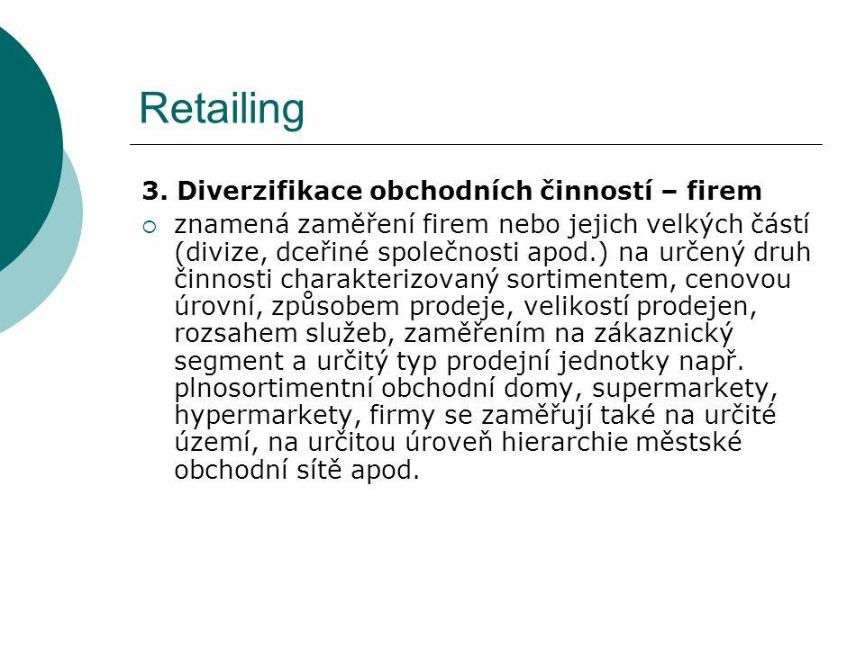 Retailing 3. Diverzifikace obchodních činností – firem  znamená zaměření firem nebo jejich velkých částí (divize, dceřiné společnosti apod.) na určen