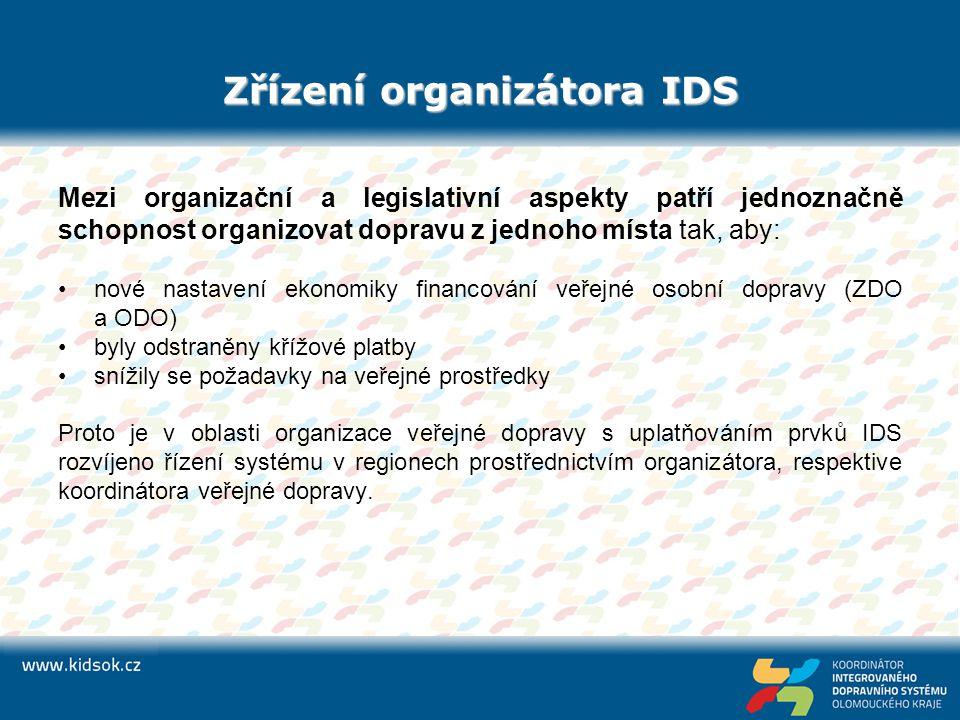 Zřízení organizátora IDS Mezi organizační a legislativní aspekty patří jednoznačně schopnost organizovat dopravu z jednoho místa tak, aby: nové nastav
