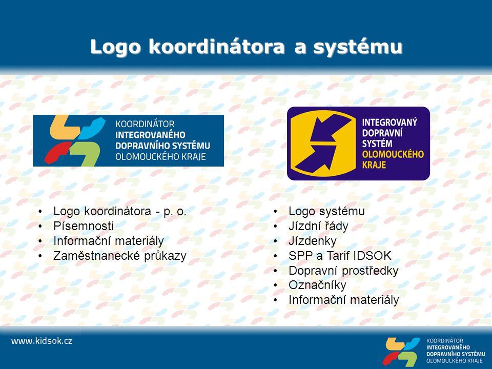 Logo koordinátora a systému Logo koordinátora - p. o. Písemnosti Informační materiály Zaměstnanecké průkazy Logo systému Jízdní řády Jízdenky SPP a Ta