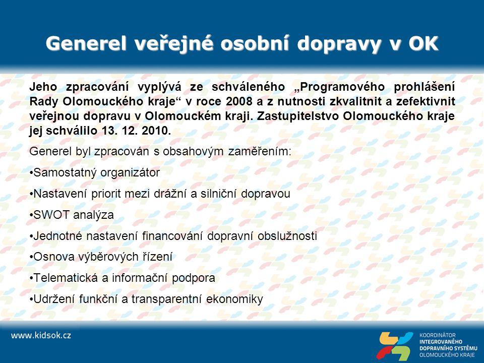 """Generel veřejné osobní dopravy v OK Jeho zpracování vyplývá ze schváleného """"Programového prohlášení Rady Olomouckého kraje"""" v roce 2008 a z nutnosti z"""