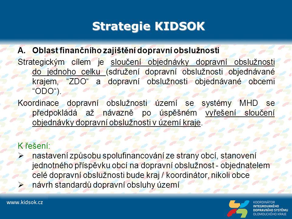 Strategie KIDSOK A.Oblast finančního zajištění dopravní obslužnosti Strategickým cílem je sloučení objednávky dopravní obslužnosti do jednoho celku (s