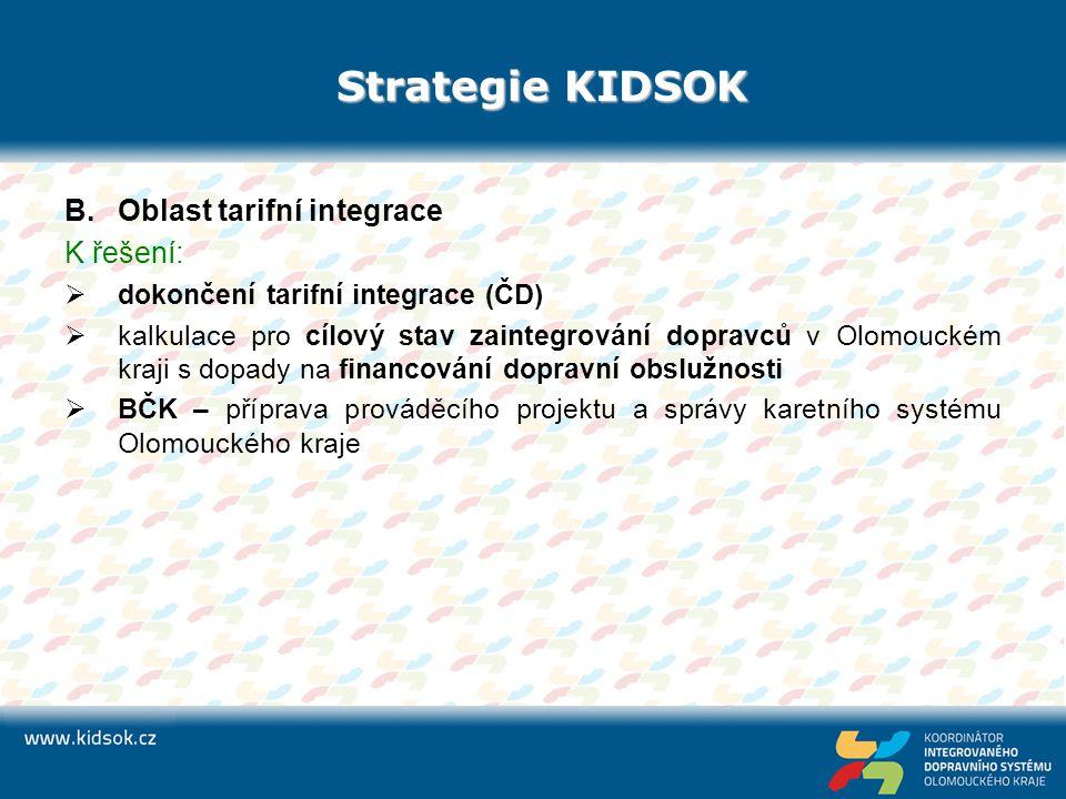 Strategie KIDSOK B.Oblast tarifní integrace K řešení:  dokončení tarifní integrace (ČD)  kalkulace pro cílový stav zaintegrování dopravců v Olomouck