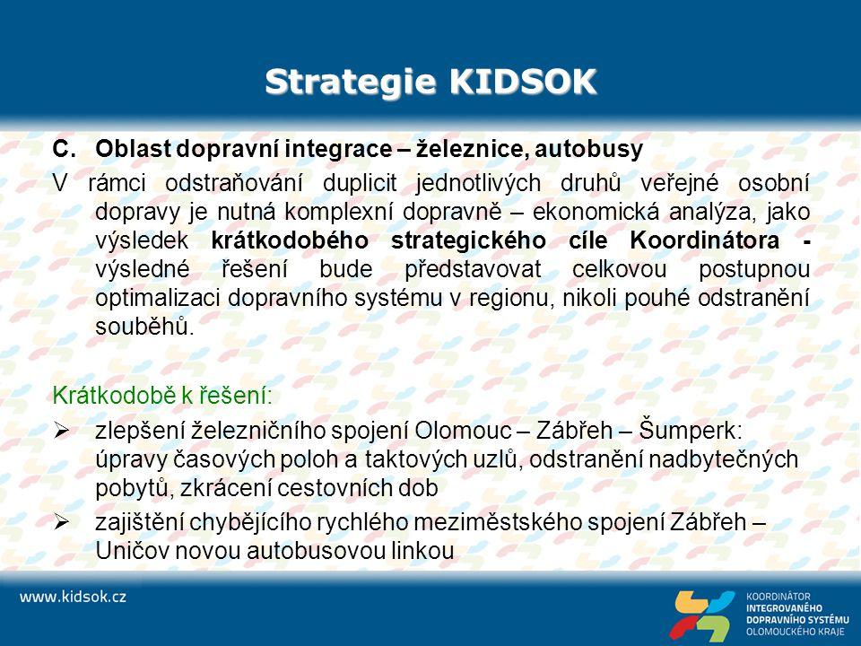 Strategie KIDSOK C.Oblast dopravní integrace – železnice, autobusy V rámci odstraňování duplicit jednotlivých druhů veřejné osobní dopravy je nutná ko