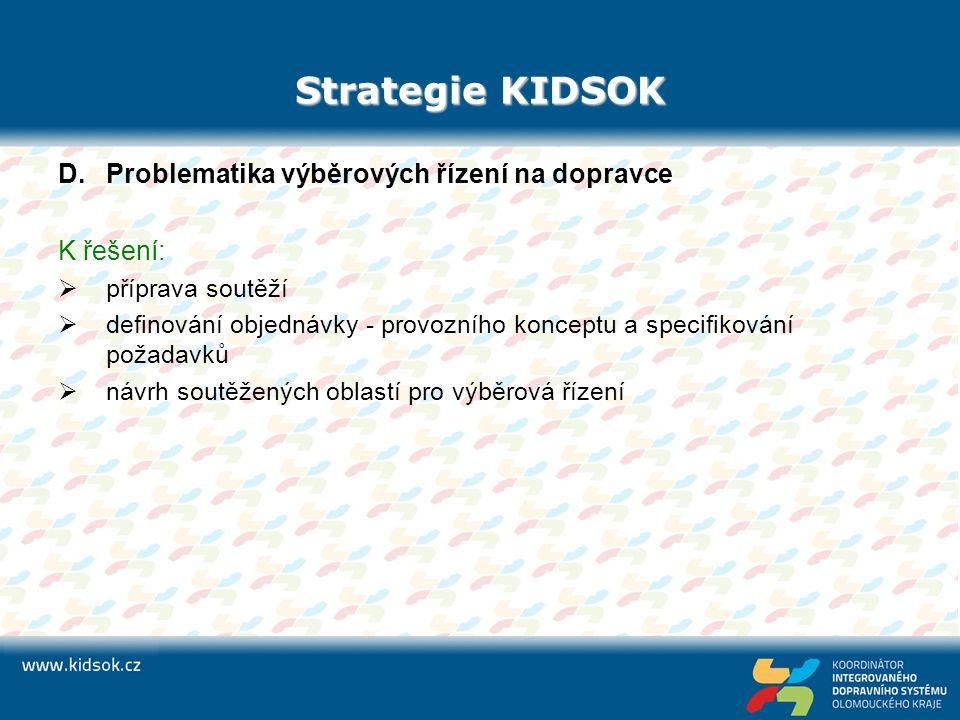 Strategie KIDSOK D.Problematika výběrových řízení na dopravce K řešení:  příprava soutěží  definování objednávky - provozního konceptu a specifiková