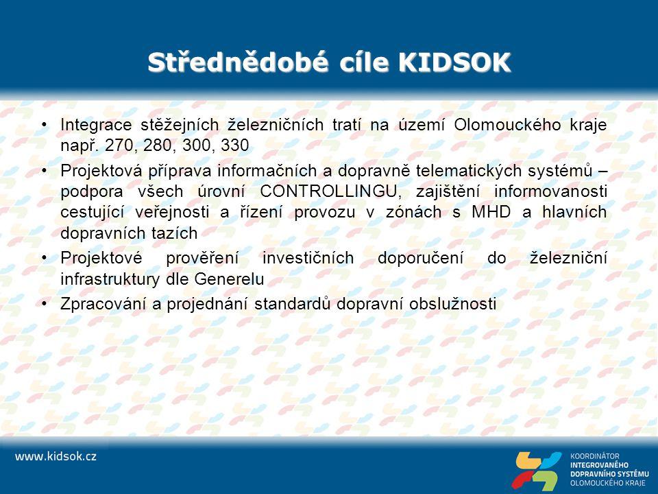 Střednědobé cíle KIDSOK Integrace stěžejních železničních tratí na území Olomouckého kraje např. 270, 280, 300, 330 Projektová příprava informačních a