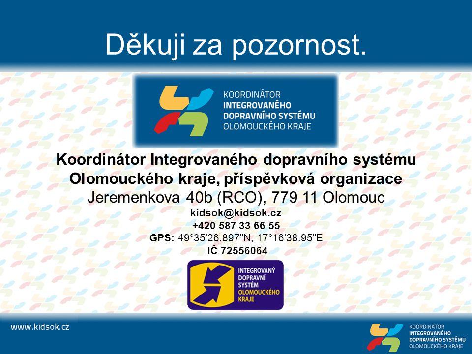 Děkuji za pozornost. Koordinátor Integrovaného dopravního systému Olomouckého kraje, příspěvková organizace Jeremenkova 40b (RCO), 779 11 Olomouc kids