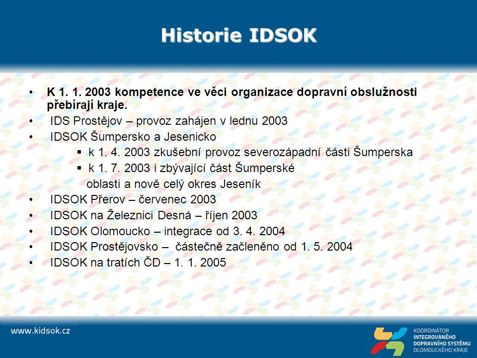 Historie IDSOK K 1. 1. 2003 kompetence ve věci organizace dopravní obslužnosti přebírají kraje. IDS Prostějov – provoz zahájen v lednu 2003 IDSOK Šump
