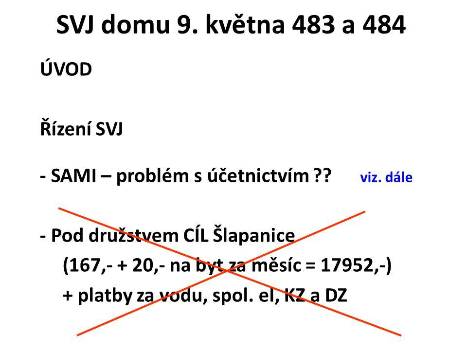 ÚVOD Řízení SVJ - SAMI – problém s účetnictvím . viz.