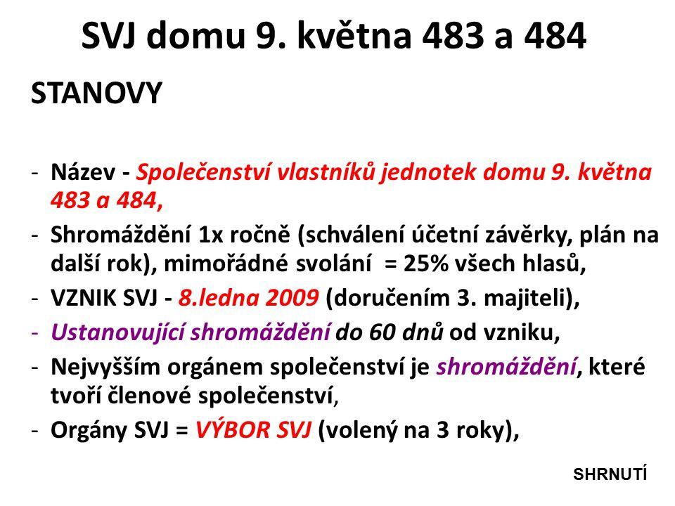 SVJ domu 9. května 483 a 484 STANOVY -Název - Společenství vlastníků jednotek domu 9.