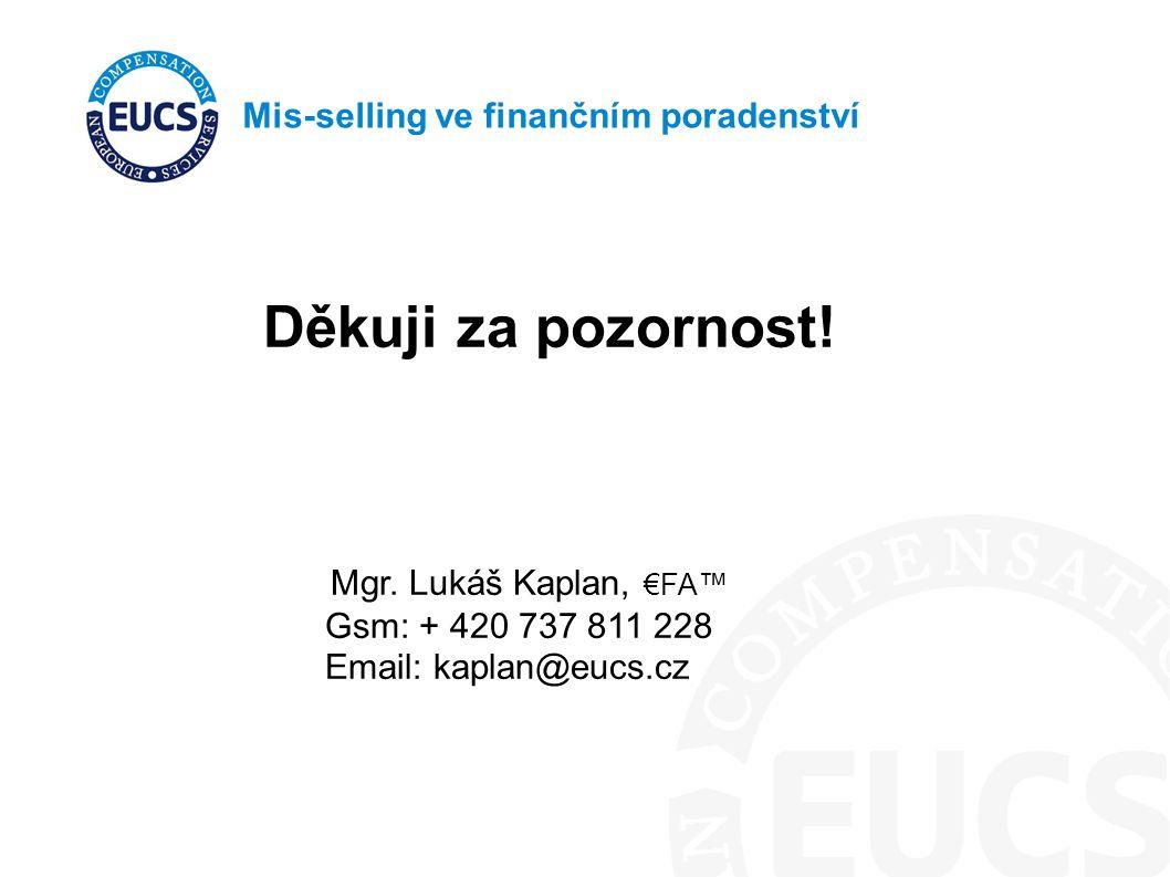 Mis-selling ve finančním poradenství Děkuji za pozornost! Mgr. Lukáš Kaplan, €FA™ Gsm: + 420 737 811 228 Email: kaplan@eucs.cz