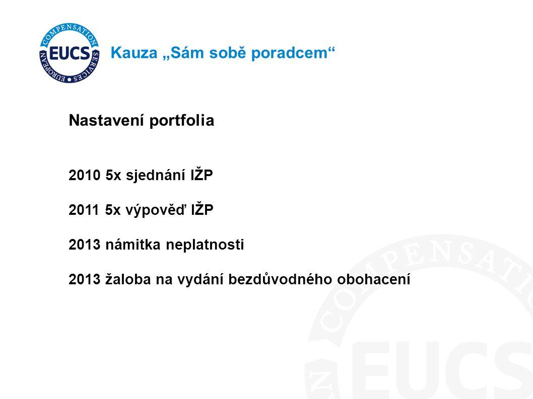 """Kauza """"Sám sobě poradcem"""" Nastavení portfolia 2010 5x sjednání IŽP 2011 5x výpověď IŽP 2013 námitka neplatnosti 2013 žaloba na vydání bezdůvodného obo"""