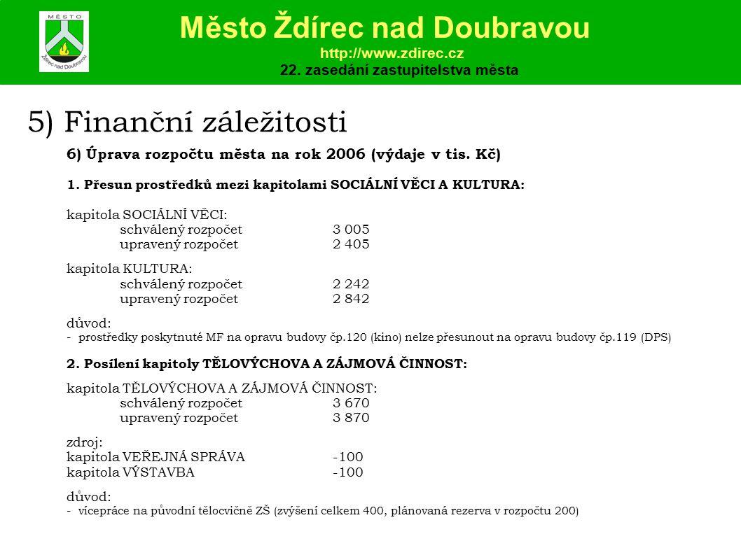 5) Finanční záležitosti 6) Úprava rozpočtu města na rok 2006 (výdaje v tis.