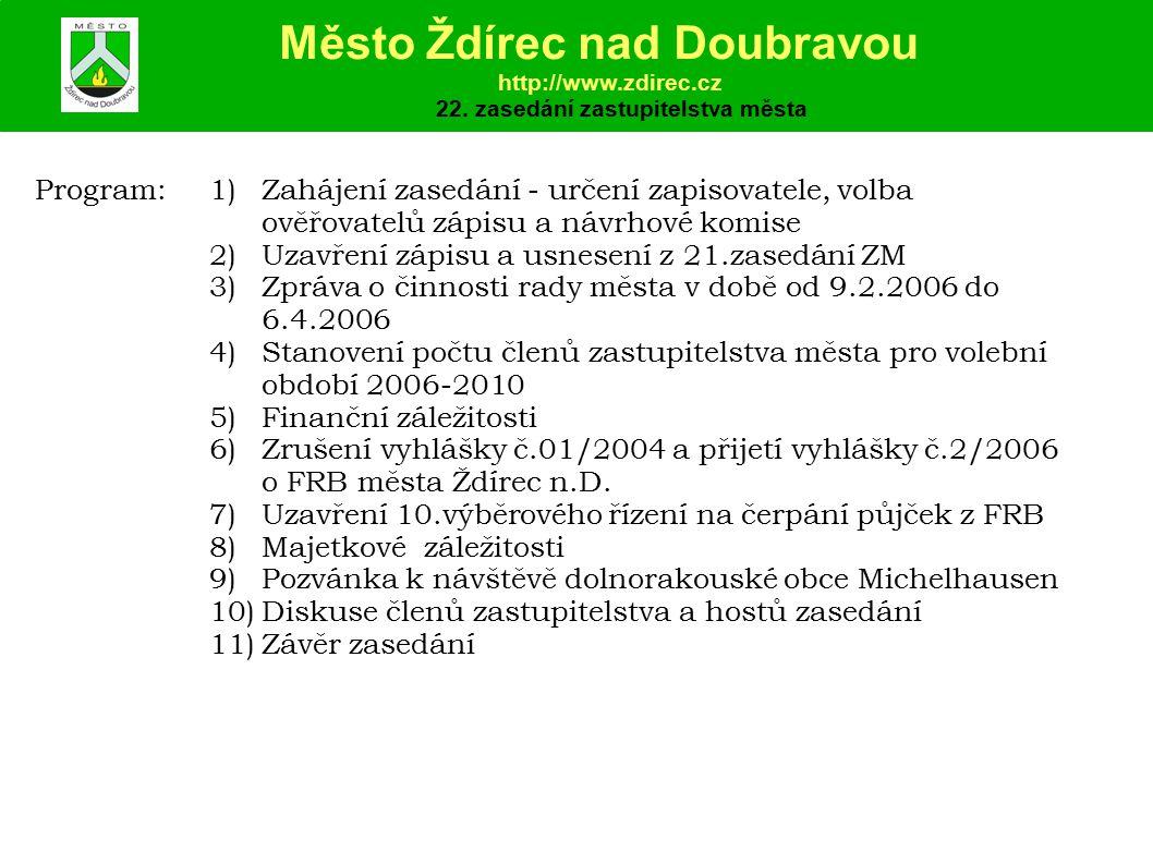 Program:1)Zahájení zasedání - určení zapisovatele, volba ověřovatelů zápisu a návrhové komise 2)Uzavření zápisu a usnesení z 21.zasedání ZM 3)Zpráva o činnosti rady města v době od 9.2.2006 do 6.4.2006 4)Stanovení počtu členů zastupitelstva města pro volební období 2006-2010 5)Finanční záležitosti 6)Zrušení vyhlášky č.01/2004 a přijetí vyhlášky č.2/2006 o FRB města Ždírec n.D.