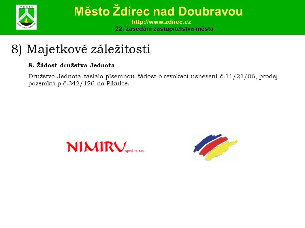 8) Majetkové záležitosti Město Ždírec nad Doubravou http://www.zdirec.cz 22.