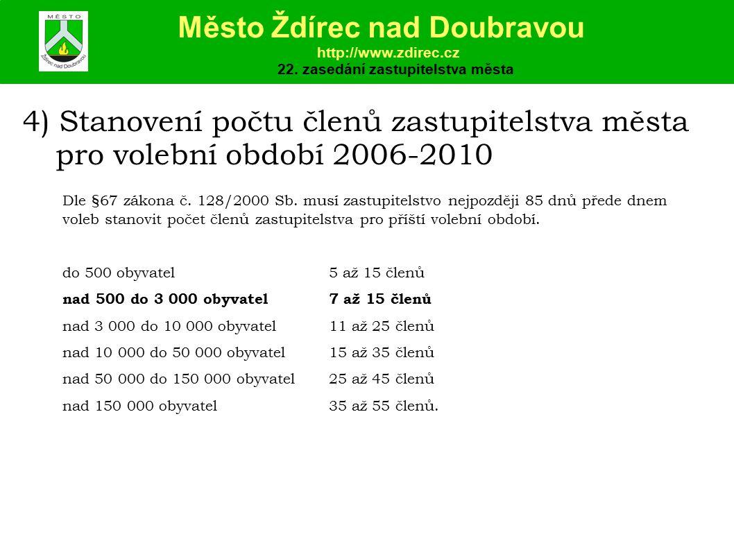 4) Stanovení počtu členů zastupitelstva města pro volební období 2006-2010 Město Ždírec nad Doubravou http://www.zdirec.cz 22.