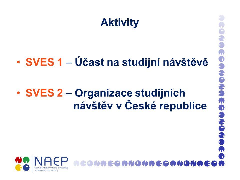 Aktivity SVES 1 – Účast na studijní návštěvě SVES 2 – Organizace studijních návštěv v České republice