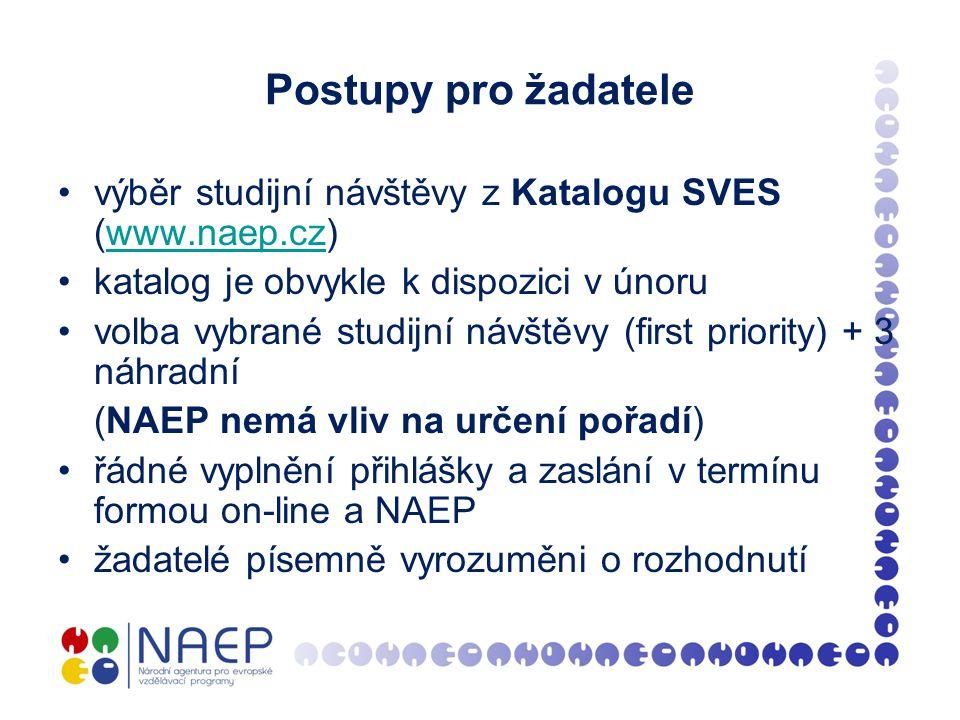 Postupy pro žadatele výběr studijní návštěvy z Katalogu SVES (www.naep.cz)www.naep.cz katalog je obvykle k dispozici v únoru volba vybrané studijní návštěvy (first priority) + 3 náhradní (NAEP nemá vliv na určení pořadí) řádné vyplnění přihlášky a zaslání v termínu formou on-line a NAEP žadatelé písemně vyrozuměni o rozhodnutí