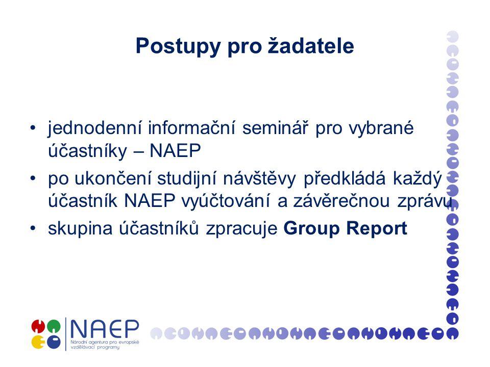 Postupy pro žadatele jednodenní informační seminář pro vybrané účastníky – NAEP po ukončení studijní návštěvy předkládá každý účastník NAEP vyúčtování a závěrečnou zprávu skupina účastníků zpracuje Group Report