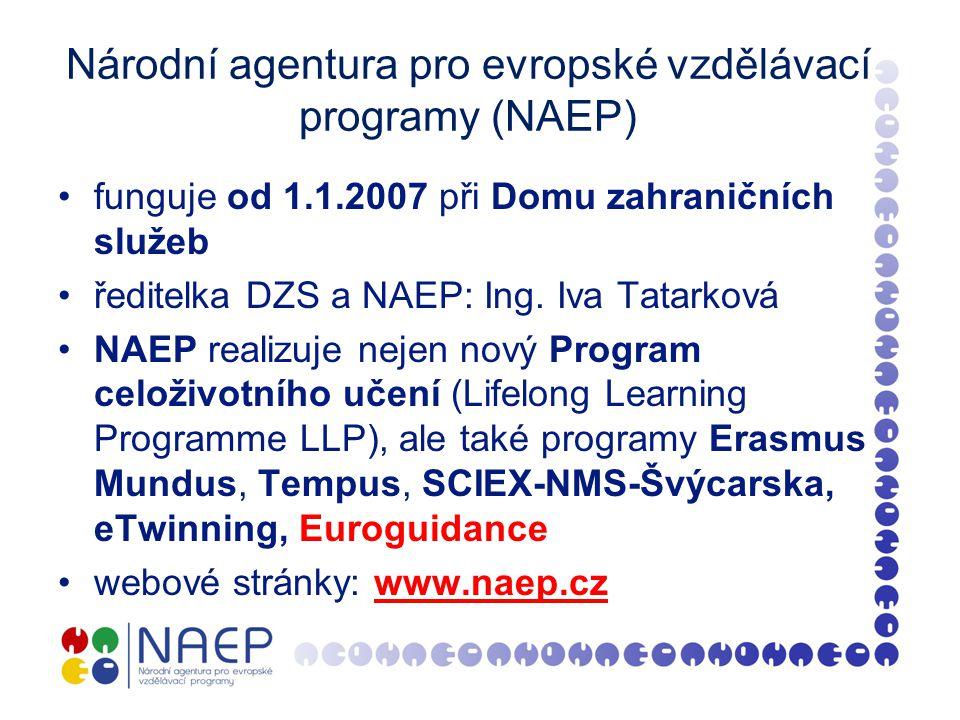 Národní agentura pro evropské vzdělávací programy (NAEP) funguje od 1.1.2007 při Domu zahraničních služeb ředitelka DZS a NAEP: Ing.