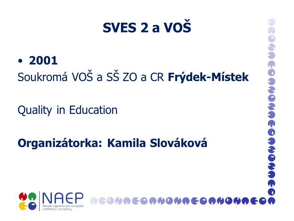 SVES 2 a VOŠ 2001 Soukromá VOŠ a SŠ ZO a CR Frýdek-Místek Quality in Education Organizátorka: Kamila Slováková
