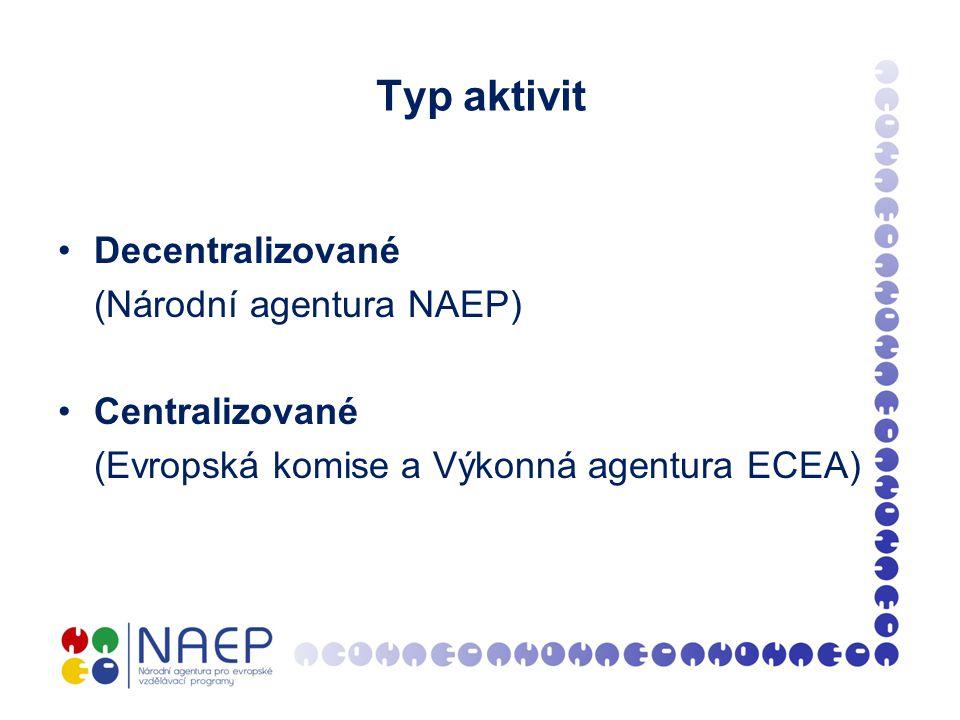 Typ aktivit Decentralizované (Národní agentura NAEP) Centralizované (Evropská komise a Výkonná agentura ECEA)